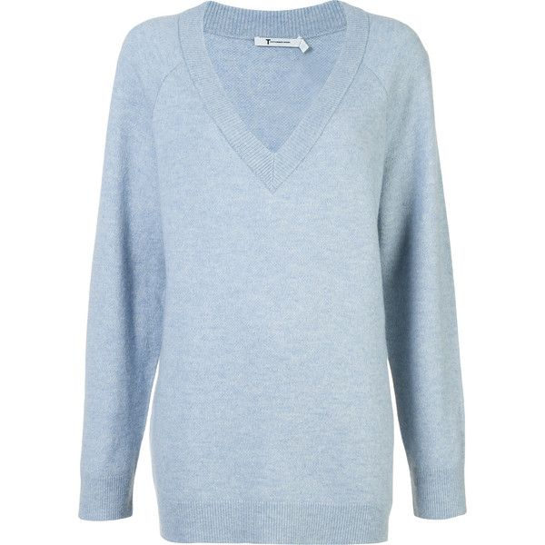 T By Alexander Wang oversized jumper (17.205 RUB) ❤ liked on Polyvore featuring tops, sweaters, blue, oversized v neck sweater, long sleeve v neck sweater, v neck long sleeve top, blue sweater and blue top