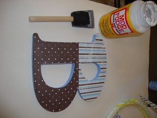How to decoupage a wooden letter with scrapbook paper