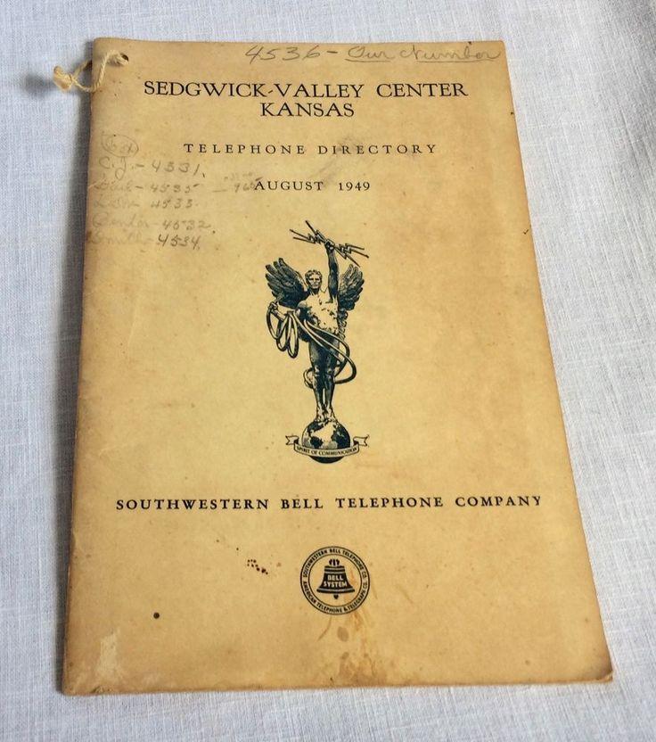 1949 Sedgwick Valley Center KS Telephone Directory August 1949 Southwestern Bell #SouthwesternBell