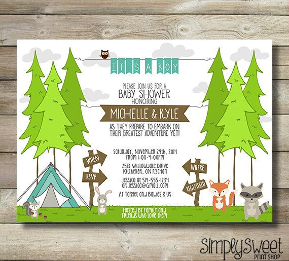 Couple Boy Baby Shower Invitation Great Adventure Tree Tent Camping  Woodland Animals Fox Raccoon Squirrel Owl Bunny Forest Brown Green Blue