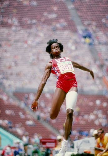 Jackie Joyner-Kersee, in the Long Jump part of the Heptathlon in the Los Angeles Olympics 1984