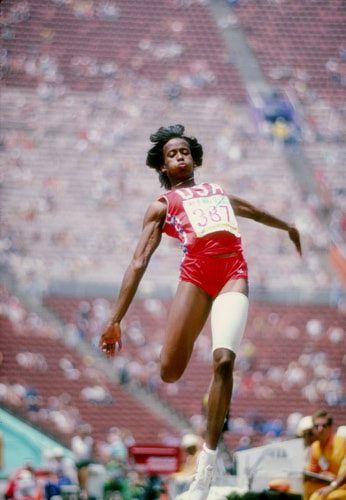 Jackie Joyner-Kersee, in the Long Jump part of the Heptathlon in the Los Angeles Olympics 1984