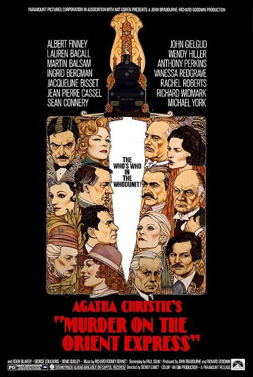 Murder on the Orient Express (1974) with Sean Connery, Lauren Bacall, Ingrid Bergman, Albert Finney, Martin Balsam, Jacqueline Bisett, Anthony Perkins, Vanessa Redgrave, Richard Widmark, Michael York,