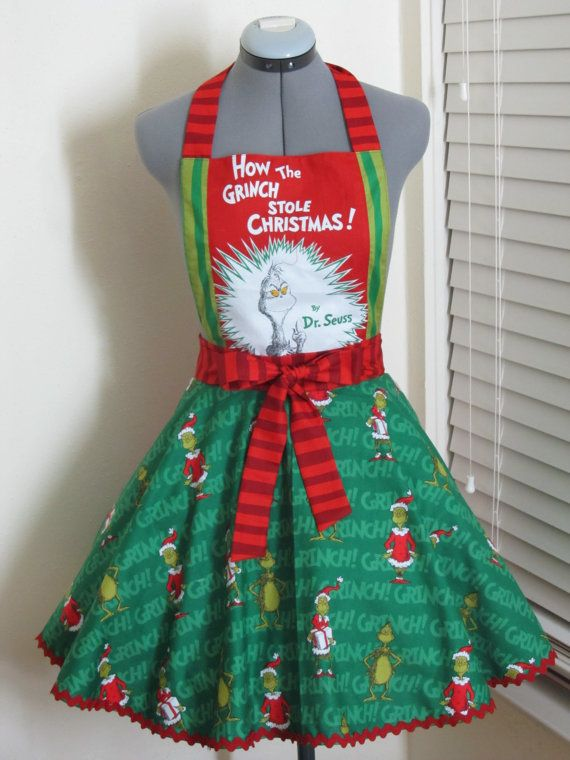 The Grinch Apron How The Grinch Stole Christmas  by AquamarCouture, $47.99