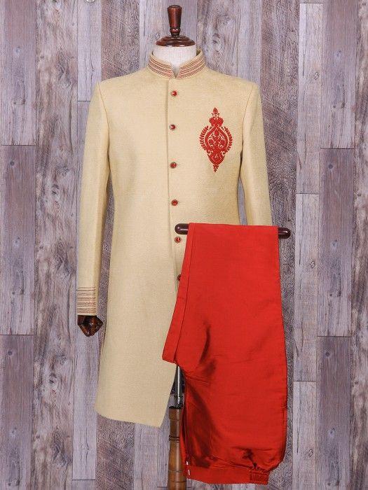 Silk Cream Plain Wedding Wear Indo Western, mens fashion, groom, wedding, plain, cream color, silk