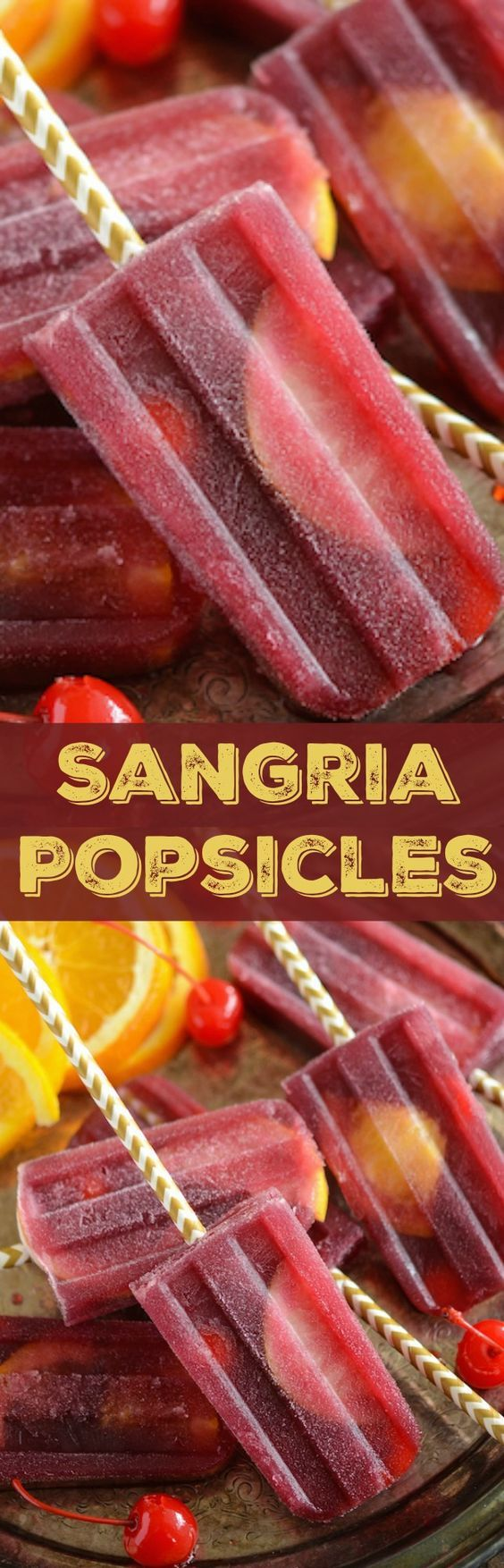 Sangria Popsicles: the perfect adult summer afternoon treat filled with whatever fruit you have on hand!