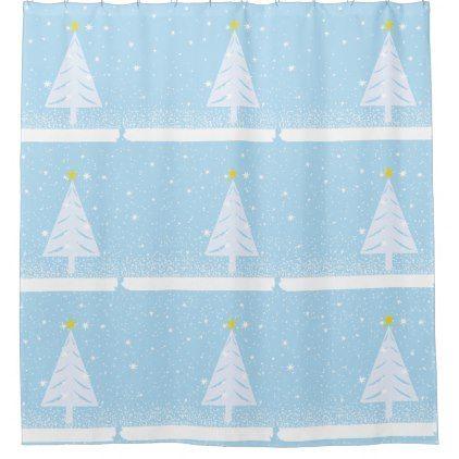 Holiday Bathroom Sets Tree & Snow Shower Curtain - holidays diy custom design cyo holiday family