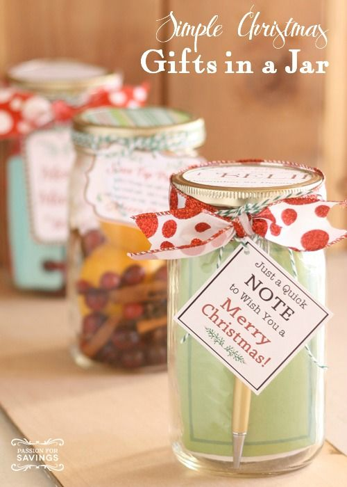 Gifts in a Jar   simple christmas gift ideas for friends, family, or ...