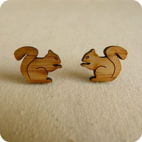 Squirrel and acorn stud earrings | One Happy Leaf | Nell and Oll