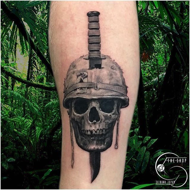 Black And Grey Skull Soldier And K Bar Knife Tsuka Marshall Tattoo Studio Got To Do The Other Night Theshopokinawa Okina Soldier Tattoo Tattoos Skull Tattoo