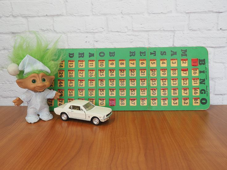 Vintage Bingo Card | Bingo King Master Board Green with Red Windows by…