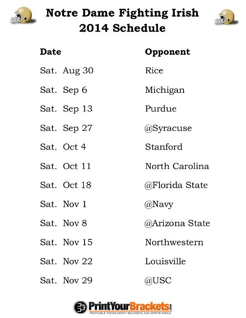 Printable Notre Dame Fighting Irish Football Schedule 2014