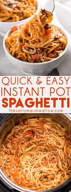 Instant Pot Spaghetti is a great easy weeknight dinner for families! The ground beef, sauce, and noodles are cooked together right in the instant pot pressure cooker for a quick and budget friendly dinner recipe.