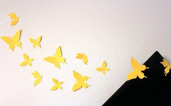 Yellow Wall art, Paper Butterflies, Butterfly wall decor, Wall hanging, Butterfly wall stickers, 3d butterfly wall art, Yellow nursery decor