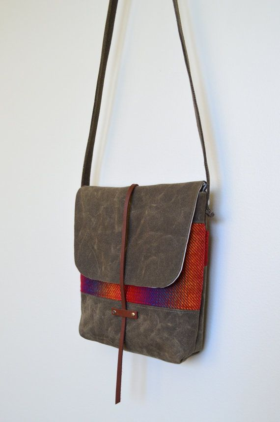 Waxed Canvas Purse / Wool Bag / Waxed Canvas by buttonsandtweed, $88.00