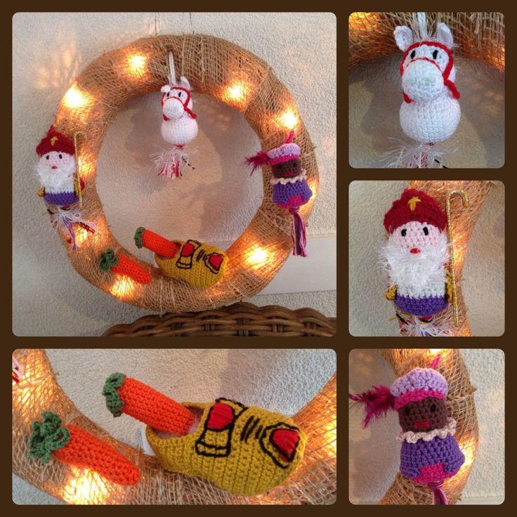 Sinterklaas krans gemaakt. Voorbeeld gezien bij Laura's frutselblog.