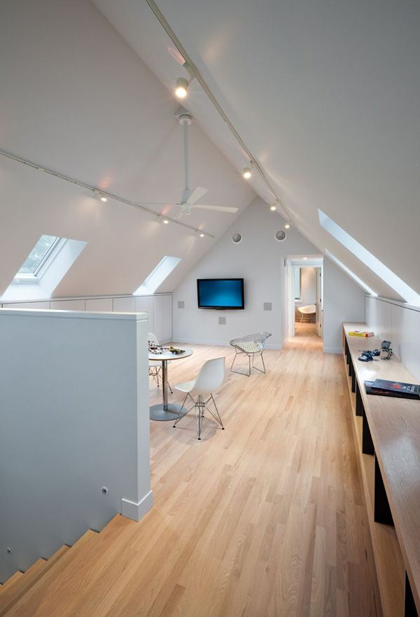 25 best ideas about attic office on pinterest attic for Vaulted ceiling lighting solutions