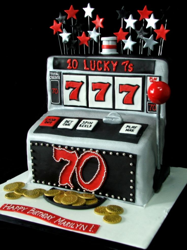 Slot Machine cut and stacked from 2 12x18 sheet cakes.