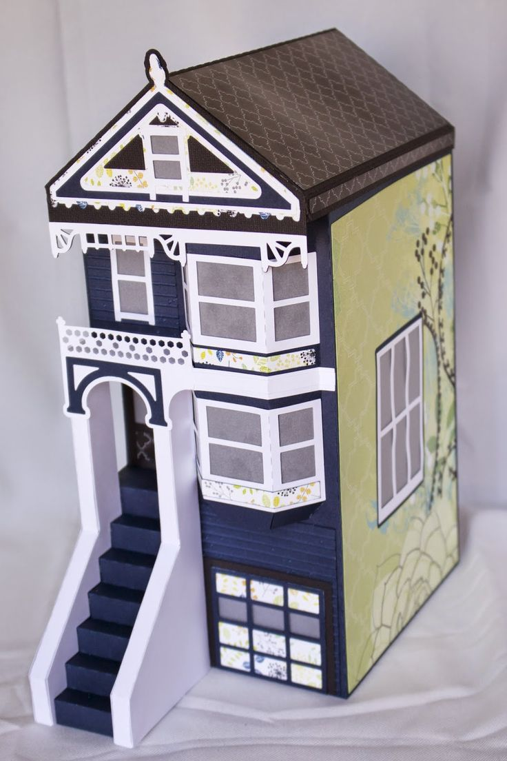 344 best paper houses village items images on pinterest paper how pretty is this one made by cynde the deep blue really has a striking paper housesvictorian housescutting jeuxipadfo Image collections