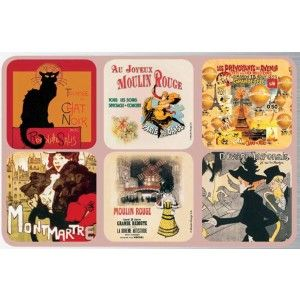 Paris Chat Noir Coasters, set of 6, assorted images of French vintage posters. Made of cork.