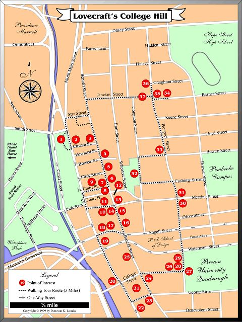 Self-guided Lovecraft College Hill walking tour, Providence, RI, (step one: print this map; step two: follow it).