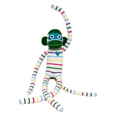 XXL Affe, aus (neuen) Socken gemacht werden. Arme, Beine und Schwanz sind so lang, dass sie wunderbar auch irgendwo rumbaumeln. Alle mit einem aufgenähtem Herz! Gestreifte Baumwollsocken von aussen, ca 75cm groß, gefüllt mit Polyester ab 0 Monaten geeignet