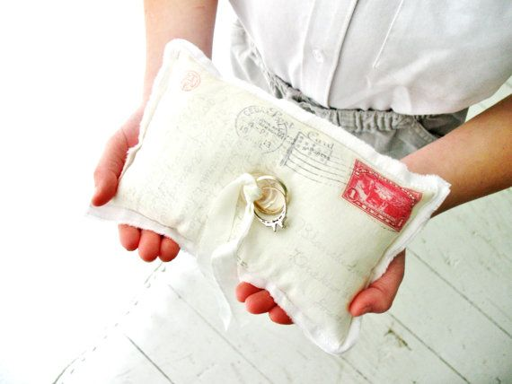 vintage ring bearer pillow   vintage postcard ring bearer pillow . with postmark and red stamp ...