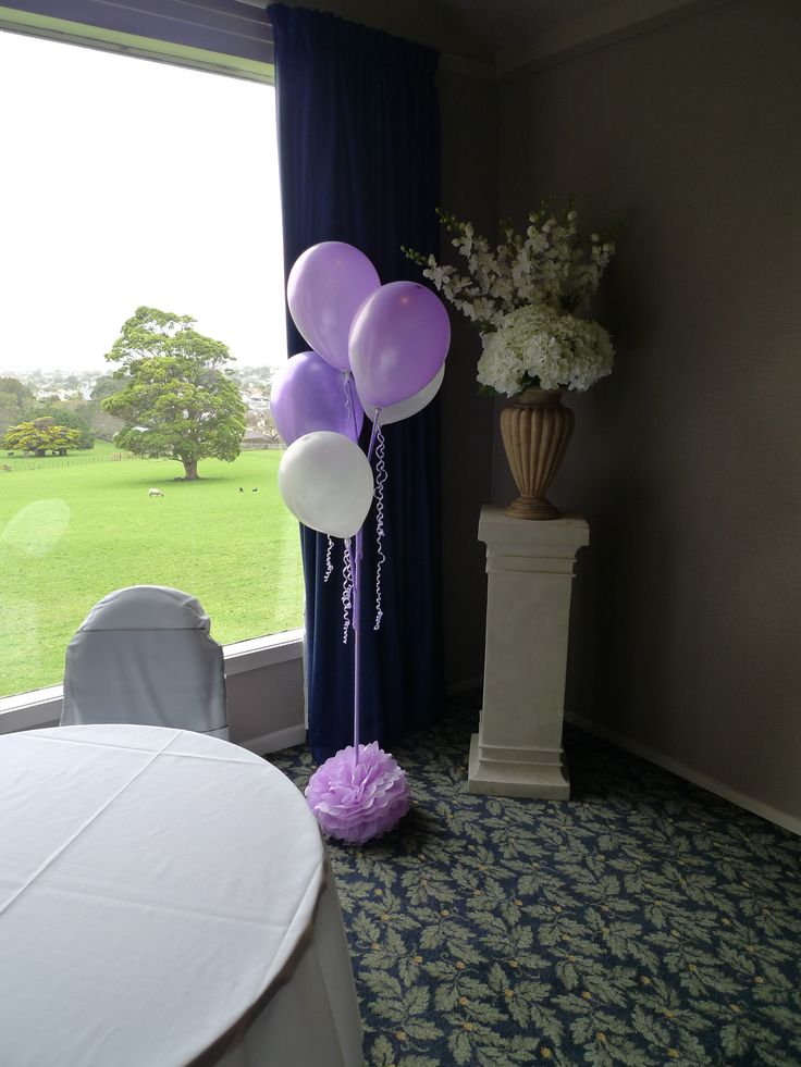 Silver and purple Balloon Stands made by my hubby