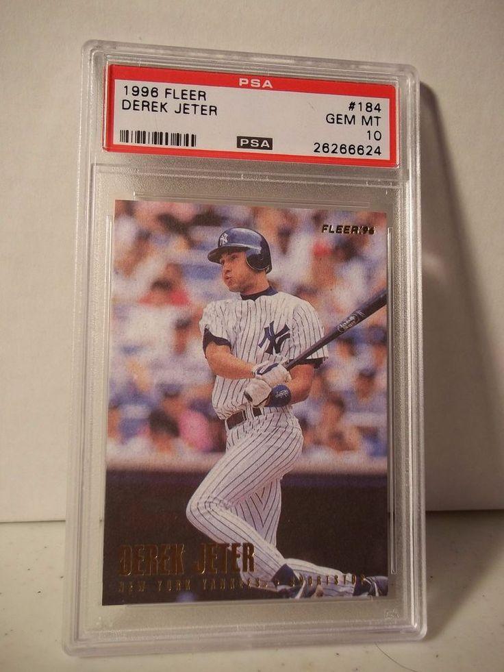 1996 Fleer Derek Jeter Rookie PSA Gem Mint 10 Baseball Rookie Card #184 MLB  #NewYorkYankees