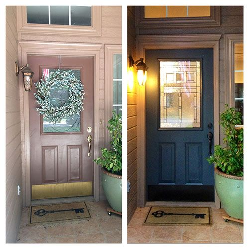 Diy front door makeover using valspar hematite and a for Half glass exterior door