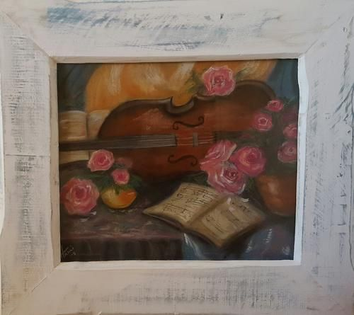 Buy FRAMED - Violin and Roses - Painting with watercolours and soft Pastels Solid wood Frame included for R600.00