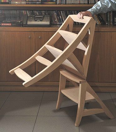 Chair becomes a ladder. You know you need one to reach above the cabinets.