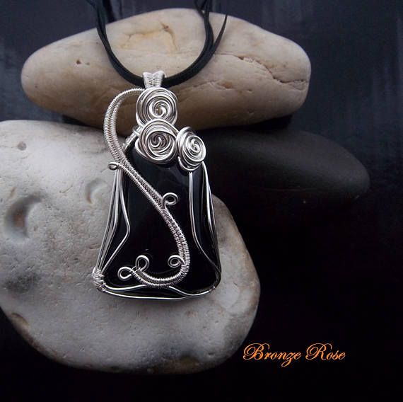 Hand crafted wire wrapped black tourmaline necklace