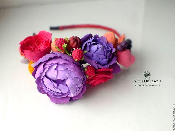 """Купить Ободок """"Жаркое лето"""" - тёмно-фиолетовый, венок из цветов, ободок для волос, ободок с цветами"""