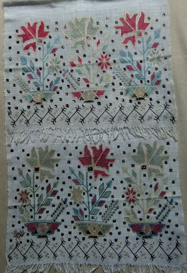 207.Embroidered towel (folded over) - Renate Halpern Galleries