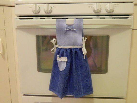 Hanging Kitchen Towel Dress  Blue Gingham  Craftsdiy
