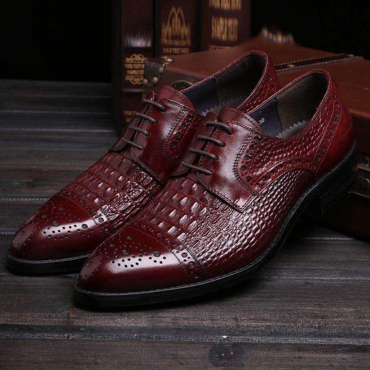 >> Click to Buy << Crocodile Grain black / wine red oxfords shoes mens dress shoes genuine leather wedding shoes mens business shoes  #Affiliate