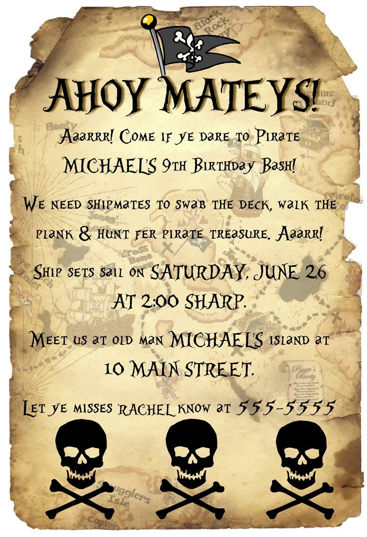 pirate invitations wording | Copyright © Custom Creations ...