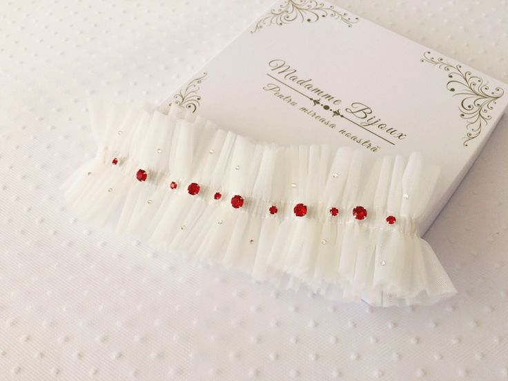 Tulle garter decorated with red Swarovski Crystal;  wedding garter; something red; white dress; red bouquet