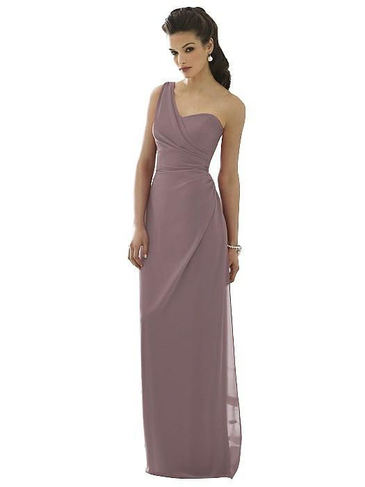 55d9b89eb3e After Six Bridesmaid Dress 6646 Full length one shoulder bridesmaid dress  in nu-georgette fabric has draped bodice and draped skirt.