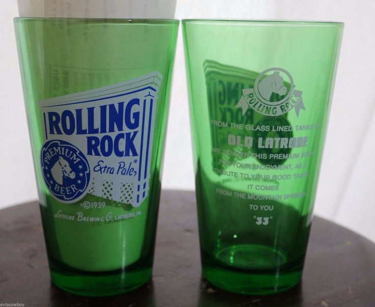 Rolling Rock Extra Pale Green Pounder Pint 20oz Beer Glass Set Of 2