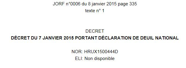 La journée de deuil national du jeudi 8/1 au Journal officiel http://www.legifrance.gouv.fr/affichTexte.do?cidTexte=JORFTEXT000030063361&dateTexte=&categorieLien=id… #CharlieHebdo @gouvernementFR