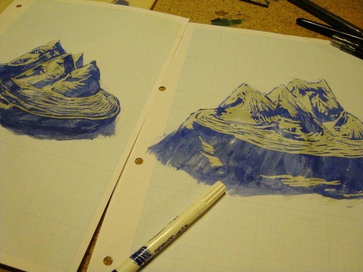 dessins à l'encre effaçable, effaceur, format A4 sur papier millimétré
