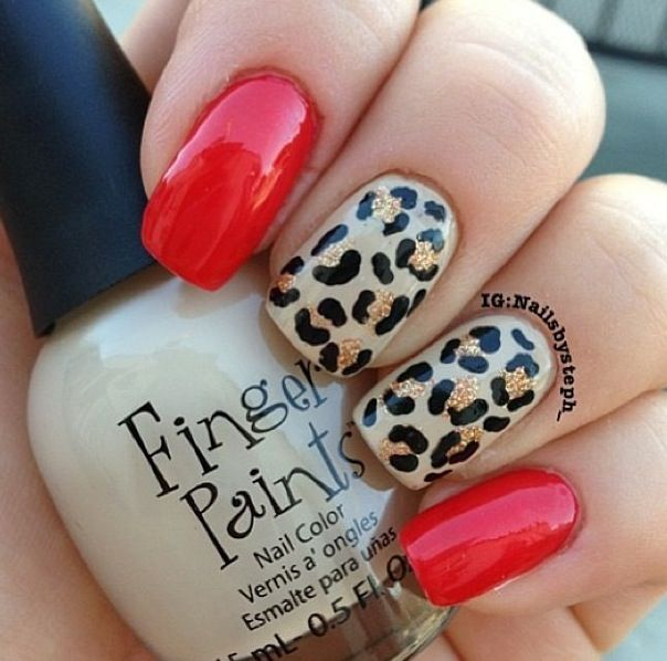 Leopard Nails.. Red, Black & Gold...