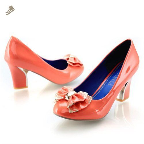 Charm Foot Fashion Bows Womens Chunky Heel High Heel Pumps Shoes (10, Orange Pink) - Charm foot pumps for women (*Amazon Partner-Link)