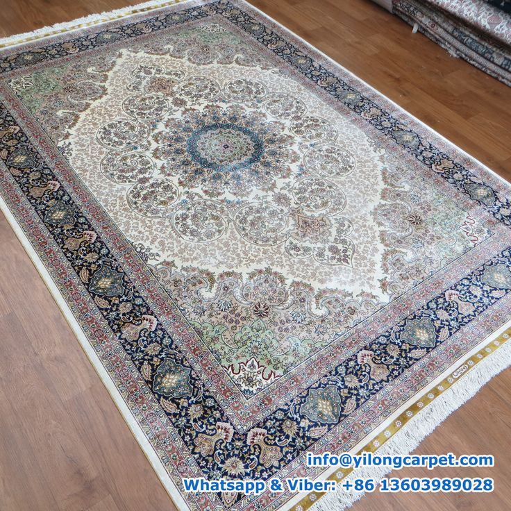 Hand Knotted Silk Turkish Rug Offered By Yilong Blue Medallion Surrounded Flower Pattern In The Beige Base 7 Borders Alternating With