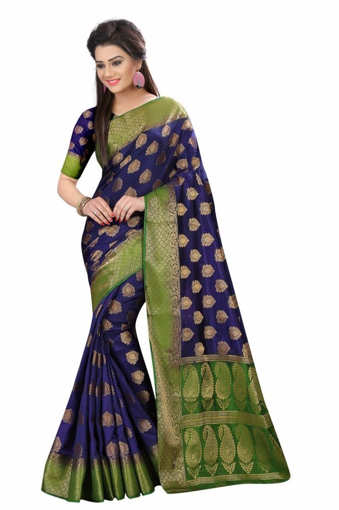 Indian Designer  Sari Bollywood Party Wear Traditional Kanchipuram Wedding Saree