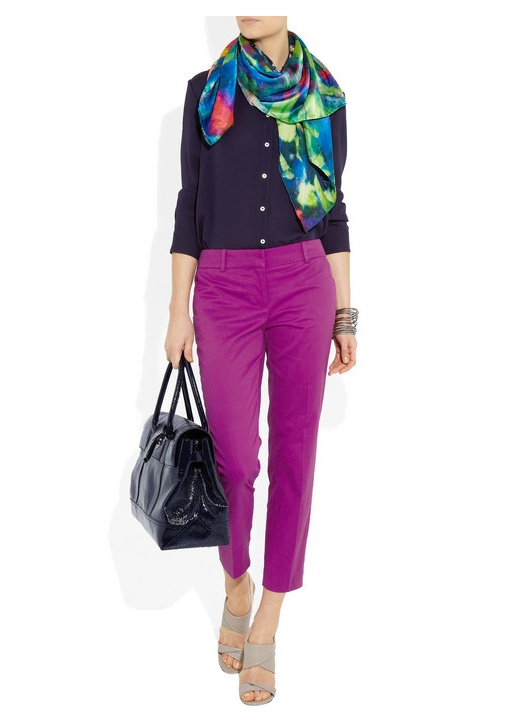 #MULBERRY Holiday Bayswater patent-leather #bag with #Weston Scarves scarf, The #Row top, #Bottega #Veneta bracelet, #J.Crew pants, and Diane von #Furstenberg #shoes. So fresh! Love!