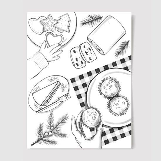 #christmas #christmastable #christmascookies #illustration #drawing