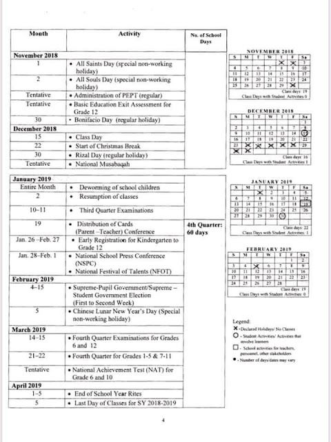 official deped school calendar for school year 2018 2019 deped lps
